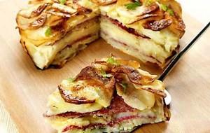Tortino di patate e salame